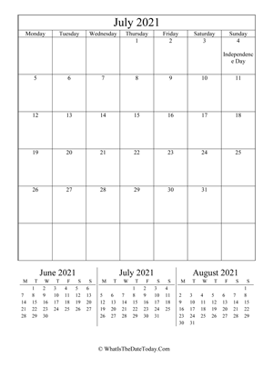 july 2021 editable calendar (vertical) with three mini months