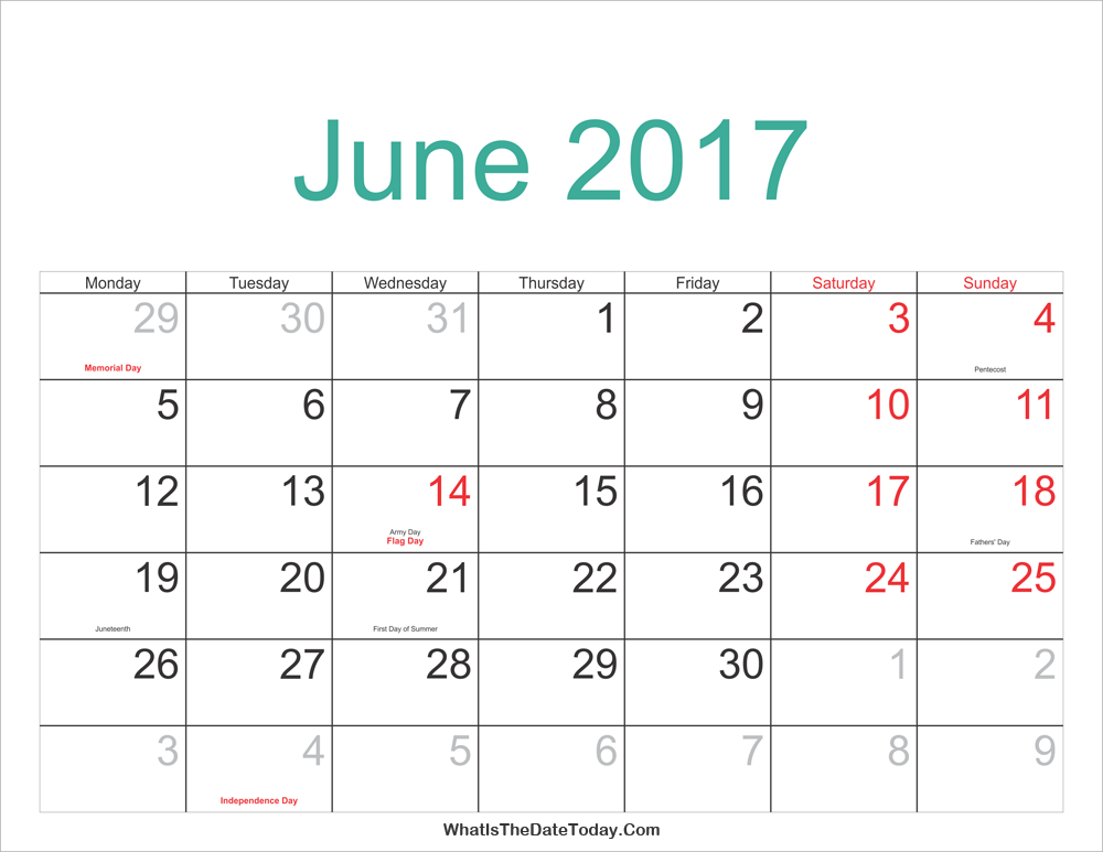 june 2017 Calendar Printable with Holidays