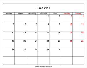 june 2017 calendar with weekend highlight