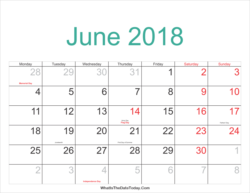 June 2018 Calendar Printable with Holidays