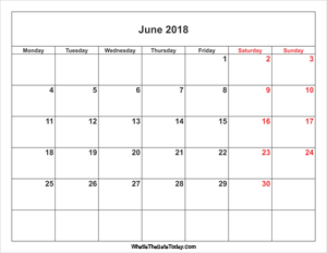 june 2018 calendar with weekend highlight