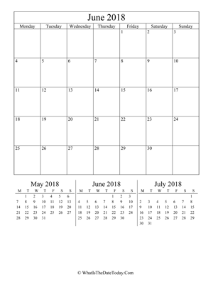 june 2018 editable calendar (vertical) with three mini months