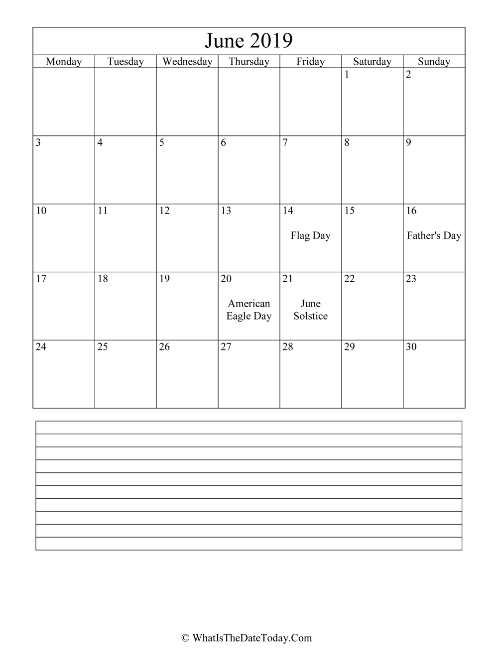 june 2019 calendar editable with notes in vertical layout