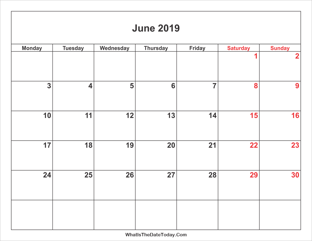 june 2019 Calendar with weekend highlight