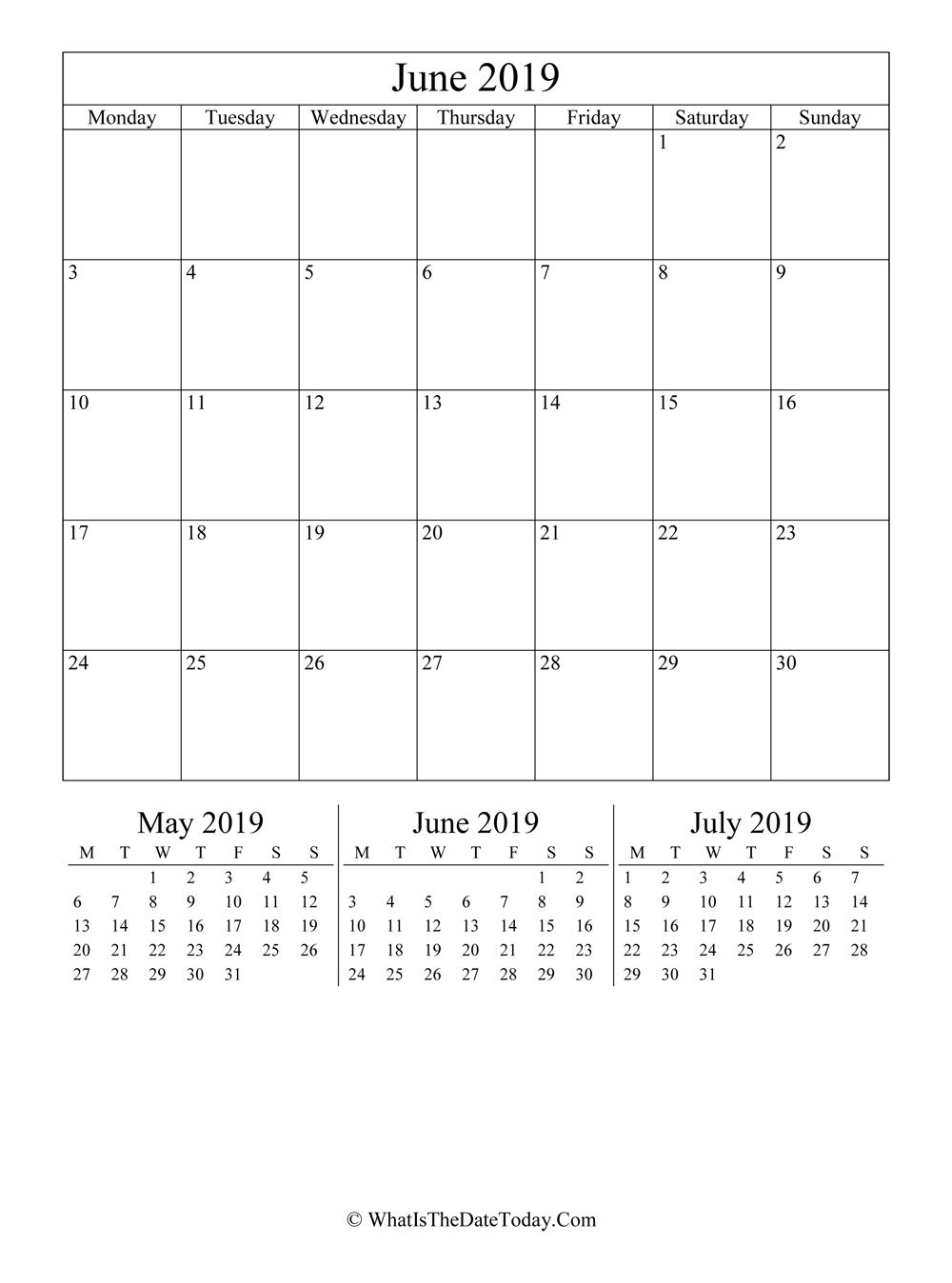 june 2019 editable calendar with three mini calendars in vertical layout