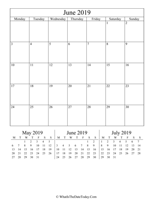 june 2019 editable calendar (vertical) with three mini months