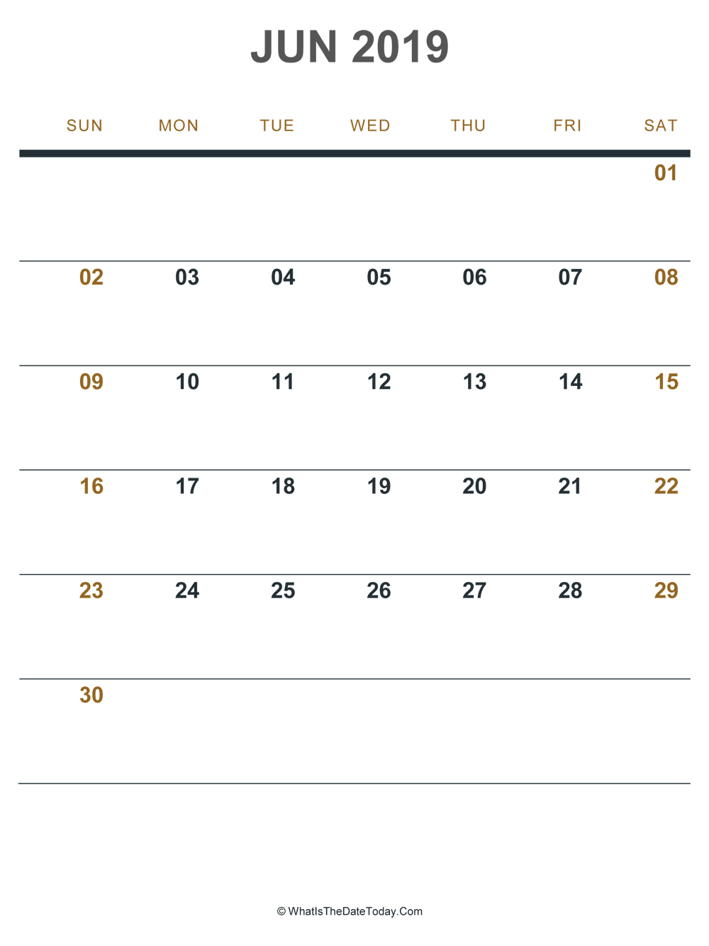image about June Printable Calendar known as June 2019 Printable Calendar (Portrait Structure