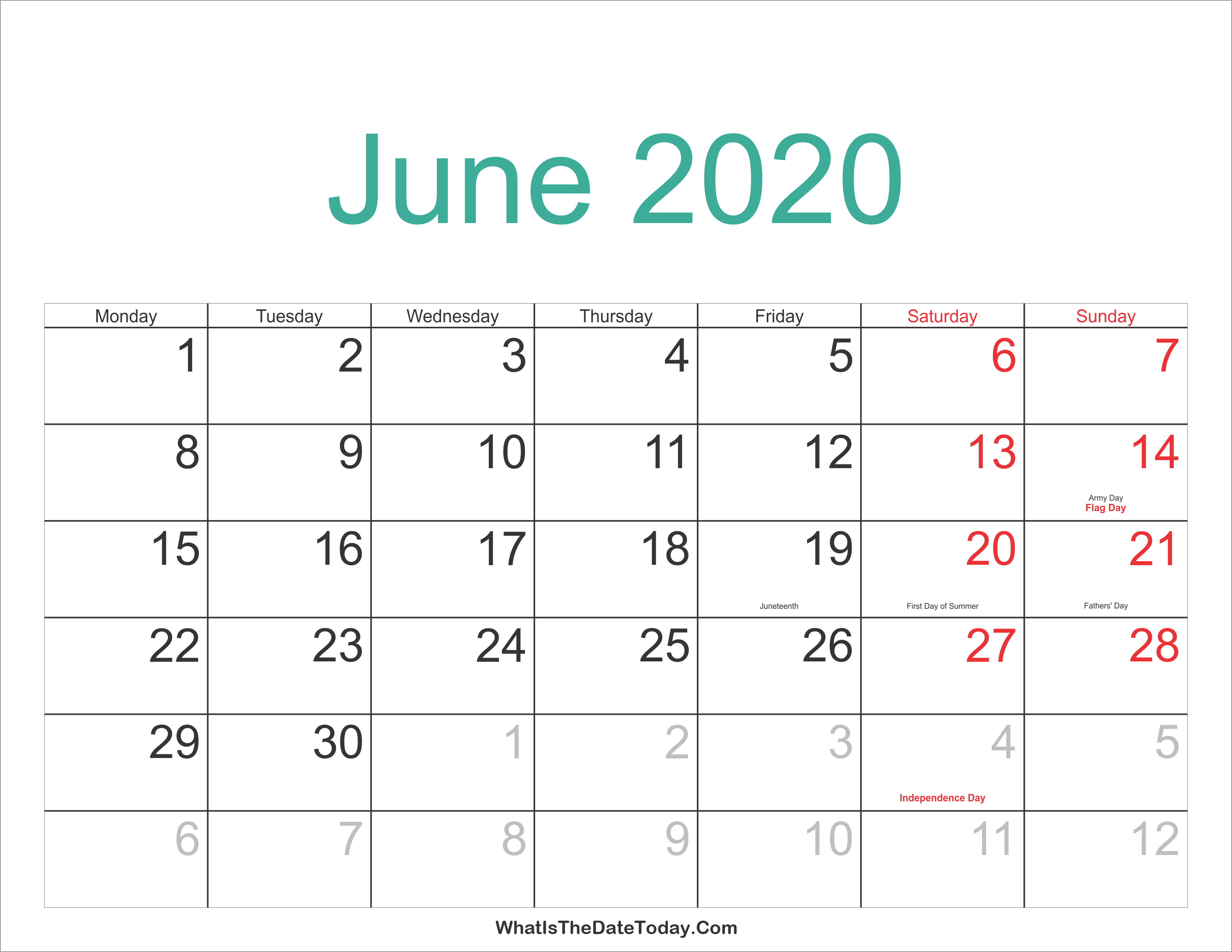 2020 Summer Calendar June 2020 Calendar Printable with Holidays | Whatisthedatetoday.Com