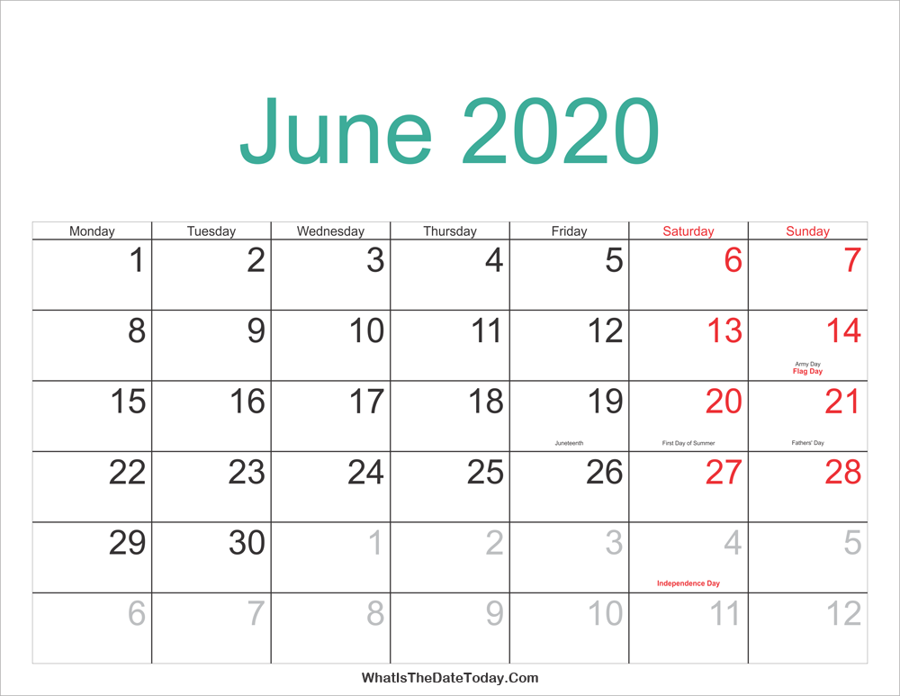 Calendar Summer 2020 June 2020 Calendar Printable with Holidays | Whatisthedatetoday.Com