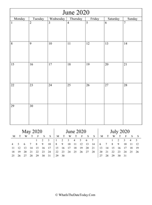 june 2020 editable calendar (vertical) with three mini months
