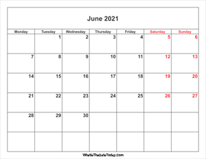 june 2021 calendar with weekend highlight