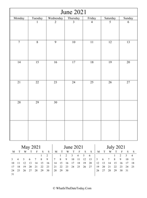 june 2021 editable calendar (vertical) with three mini months