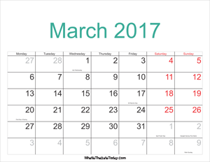 march 2017 calendar printable with holidays