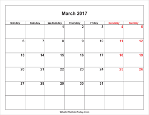 march 2017 calendar with weekend highlight