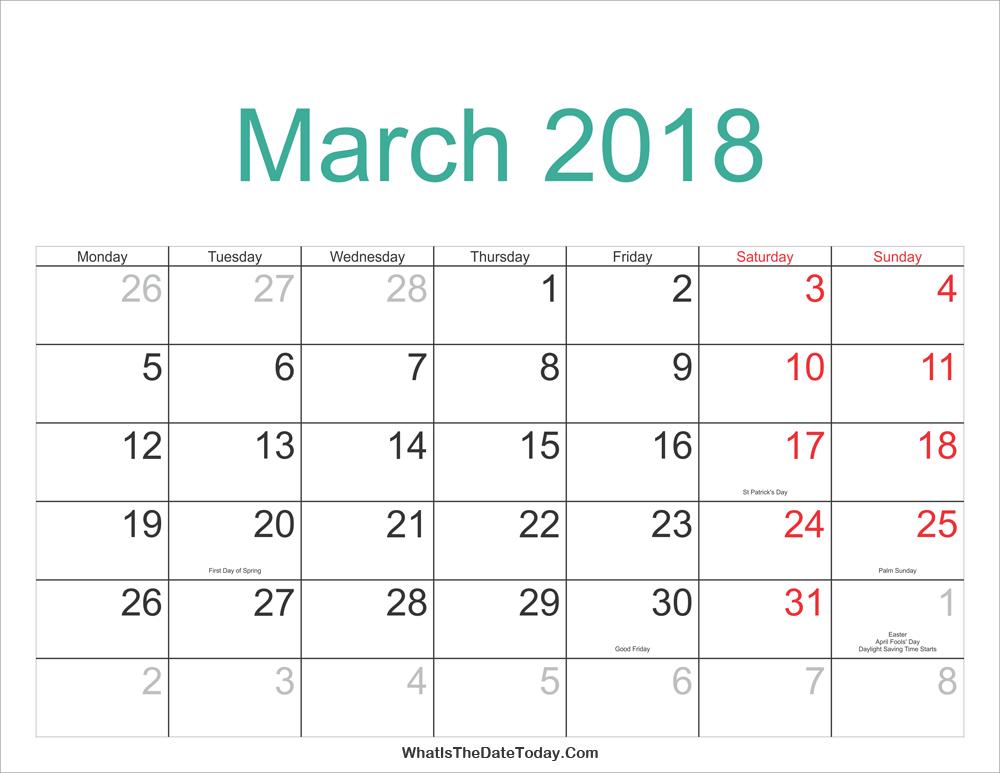 downloadable march 2018 calendar