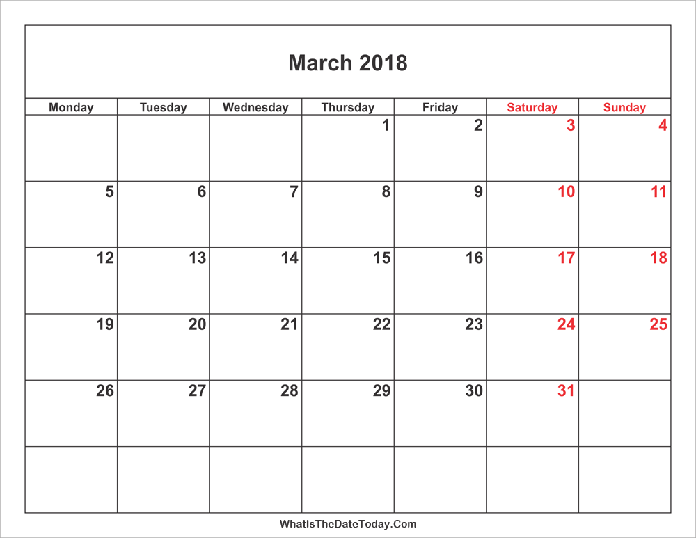 march 2018 Calendar with weekend highlight