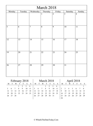 march 2018 editable calendar (vertical) with three mini months