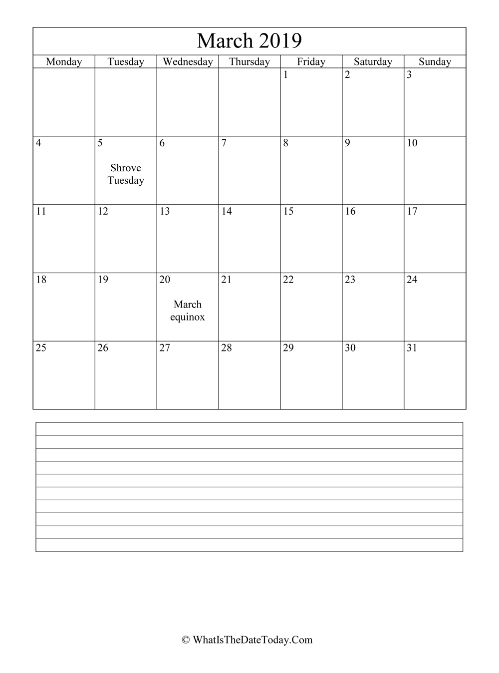 March 2019 Calendar Editable With Notes Space Vertical Layout