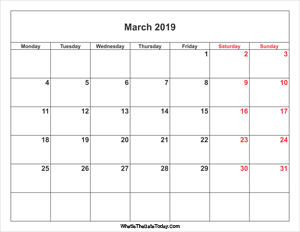 march 2019 calendar weekend highlight