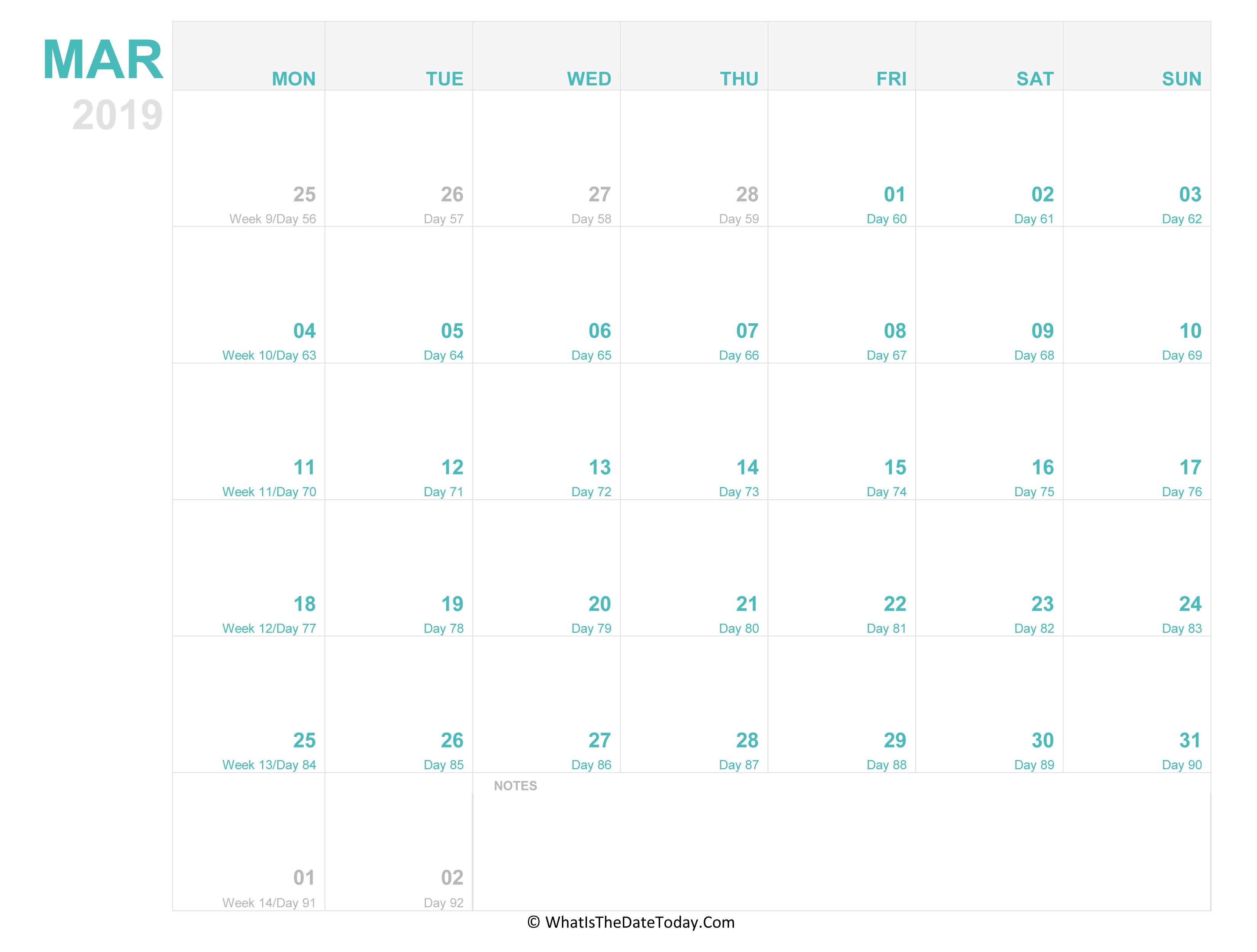 editable calendar march 2019