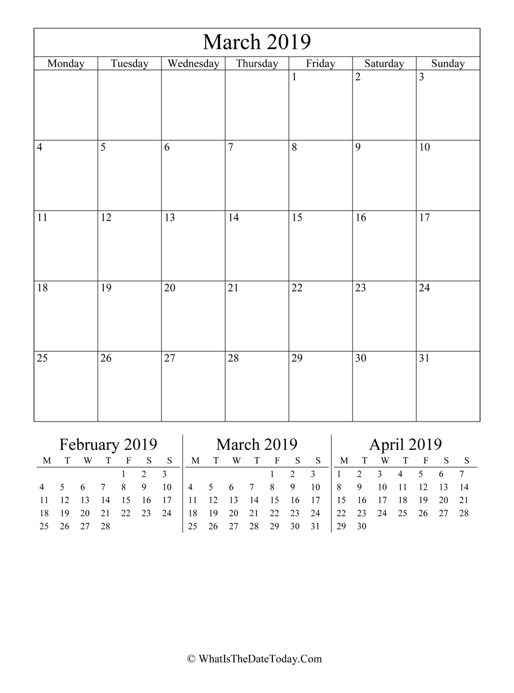 march 2019 editable calendar with three mini calendars in vertical layout