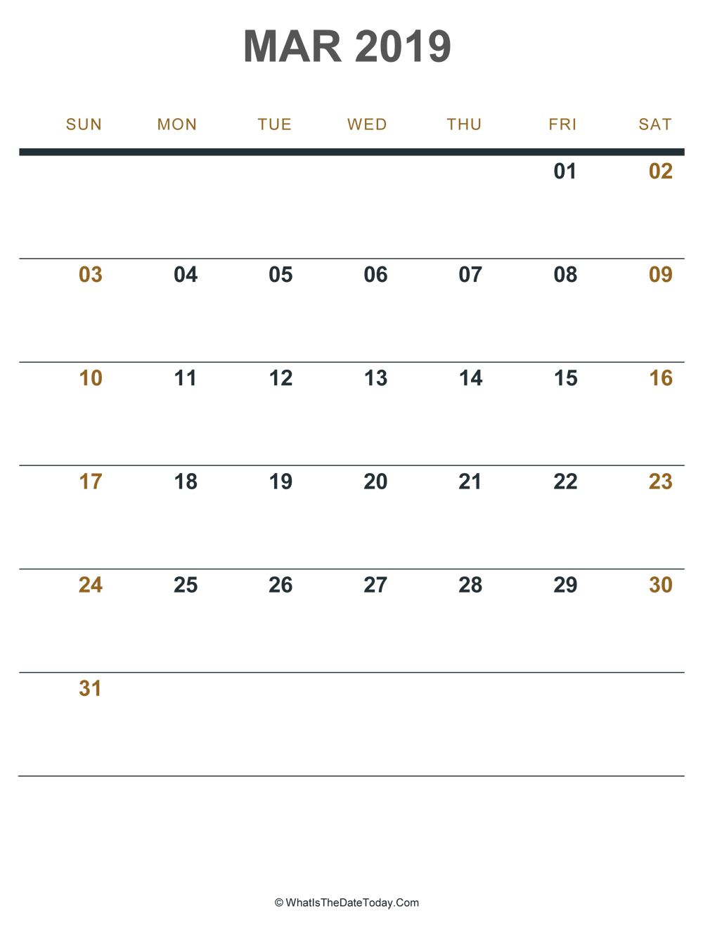 March 2019 Printable Calendar Portrait Layout Whatisthedatetoday Com