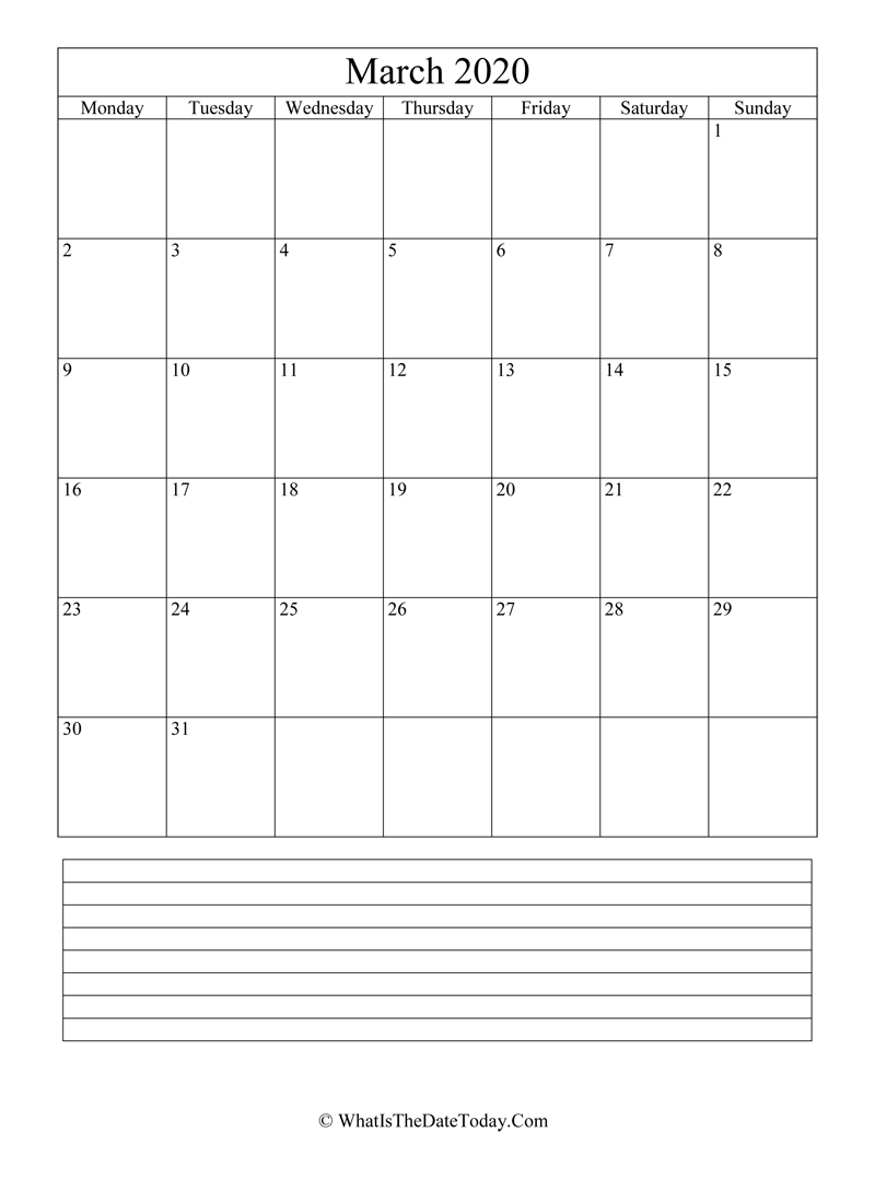march 2020 calendar editable with notes in vertical layout