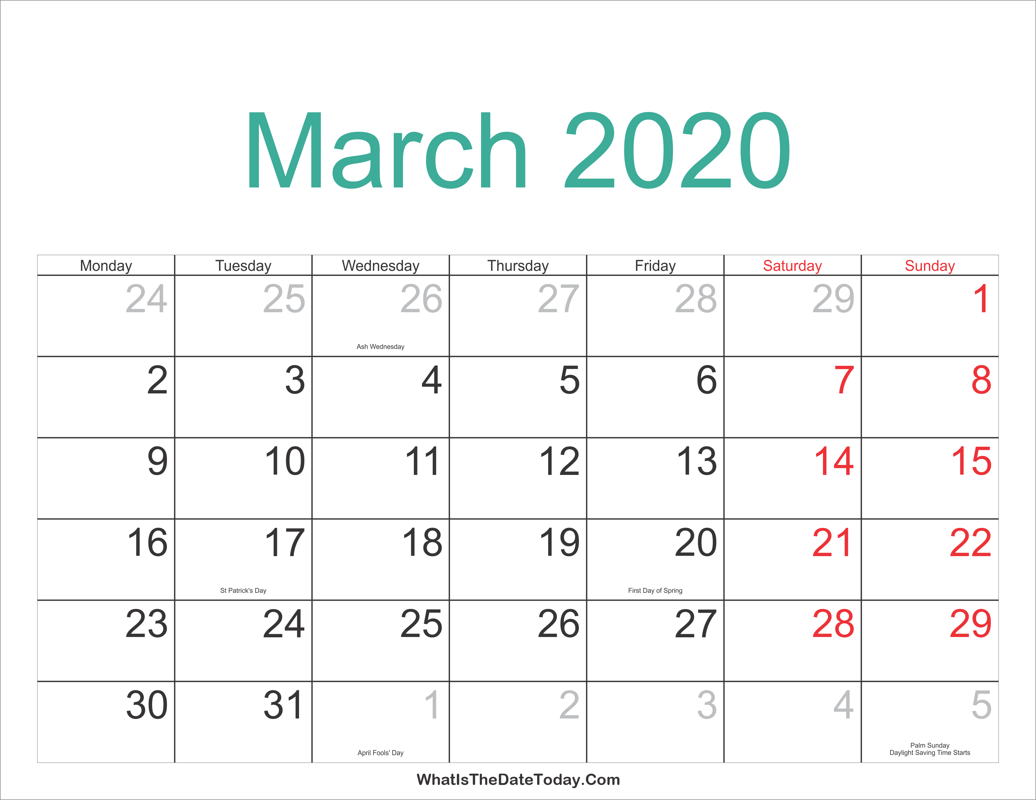 March 2020 Calendar With Holidays March 2020 Calendar Printable with Holidays | Whatisthedatetoday.Com