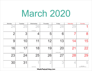 march 2020 calendar printable with holidays