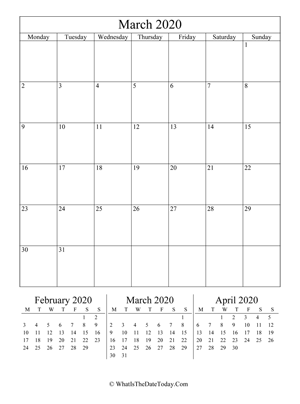 march 2020 editable calendar (vertical layout)