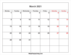 march 2021 calendar with weekend highlight