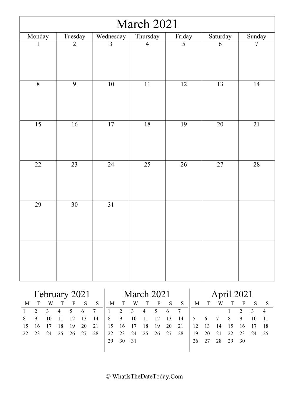 March 2021 Editable Calendar (vertical layout ...