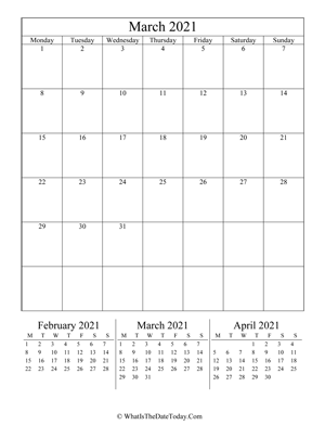 march 2021 editable calendar (vertical) with three mini months