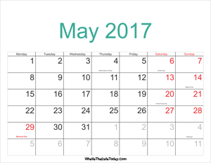may 2017 calendar printable with holidays