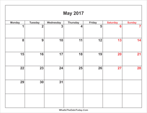 may 2017 calendar with weekend highlight