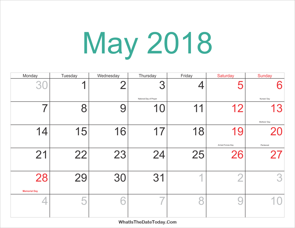 may 2018 calendar printable with holidays