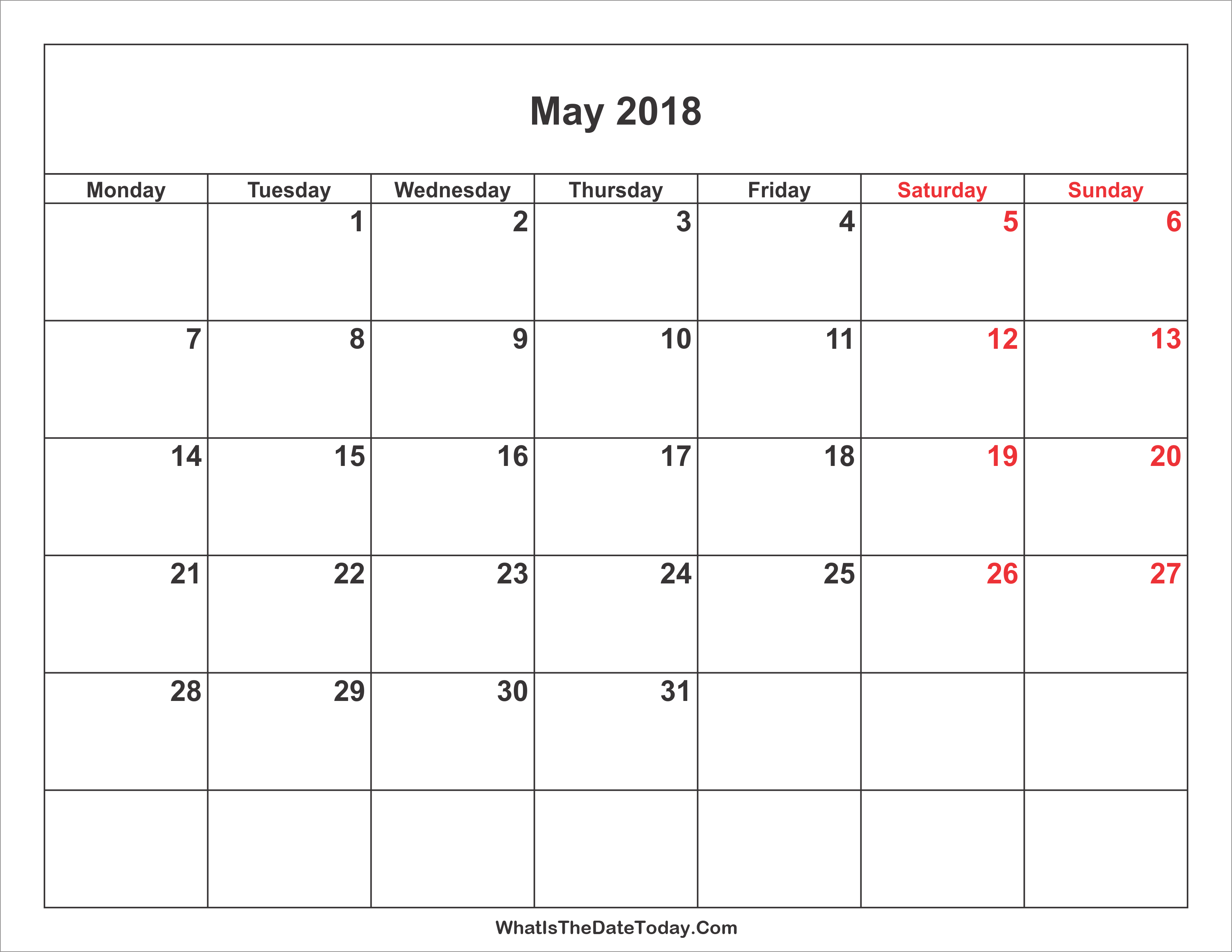 Calendar May Through July : May calendar with weekend highlight