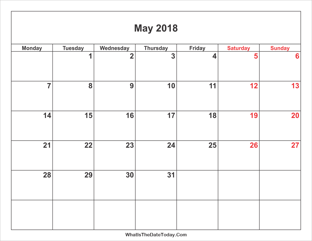 may 2018 Calendar with weekend highlight