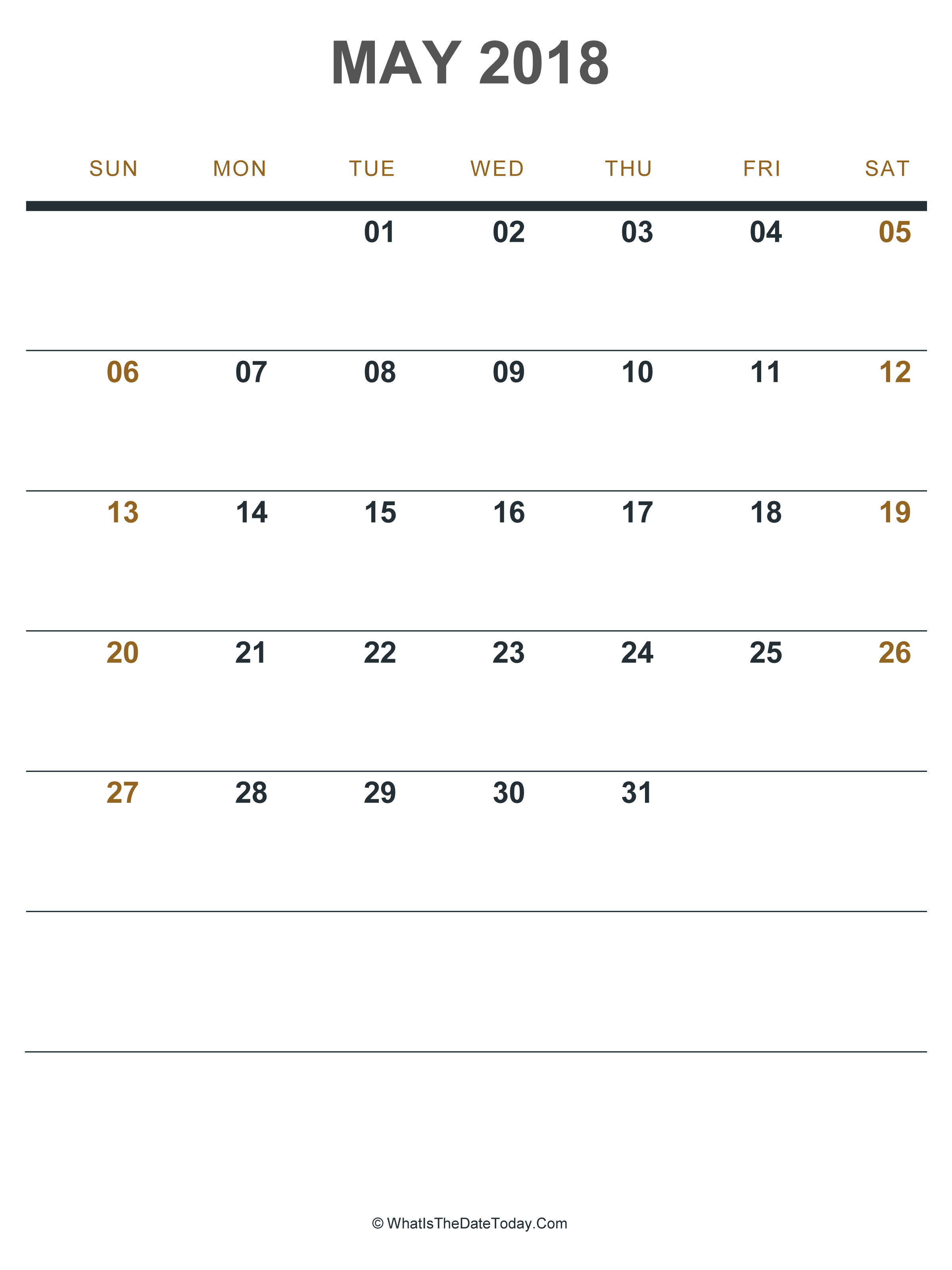 picture regarding Printable Calendars May identified as May possibly 2018 Printable Calendar (Portrait Structure