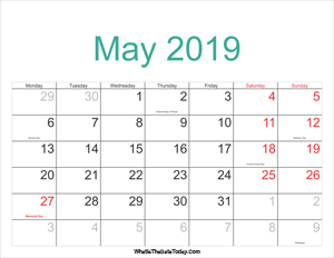 may 2019 calendar printable with holidays