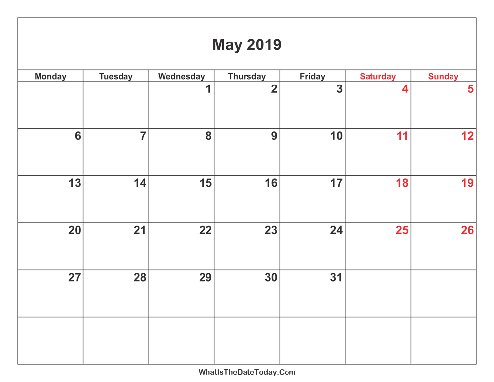 may 2019 Calendar with weekend highlight