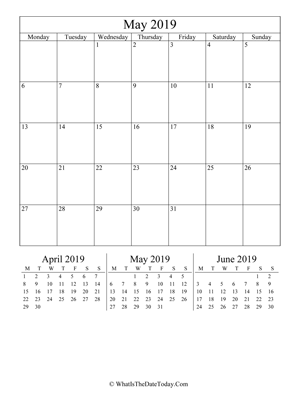 may 2019 editable calendar (vertical layout)
