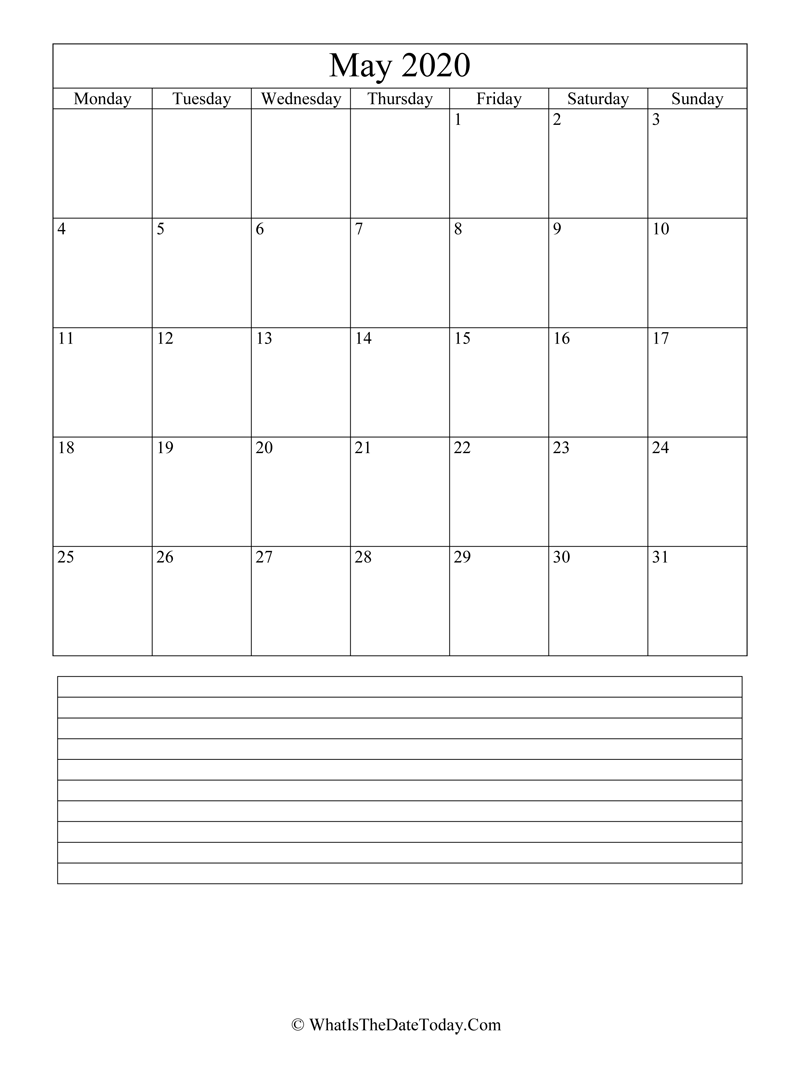 may 2020 calendar editable with notes in vertical layout