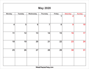 may 2020 calendar with weekend highlight
