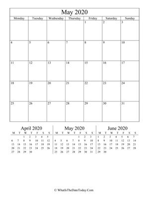 May 2020 Calendar Templates Whatisthedatetoday Com