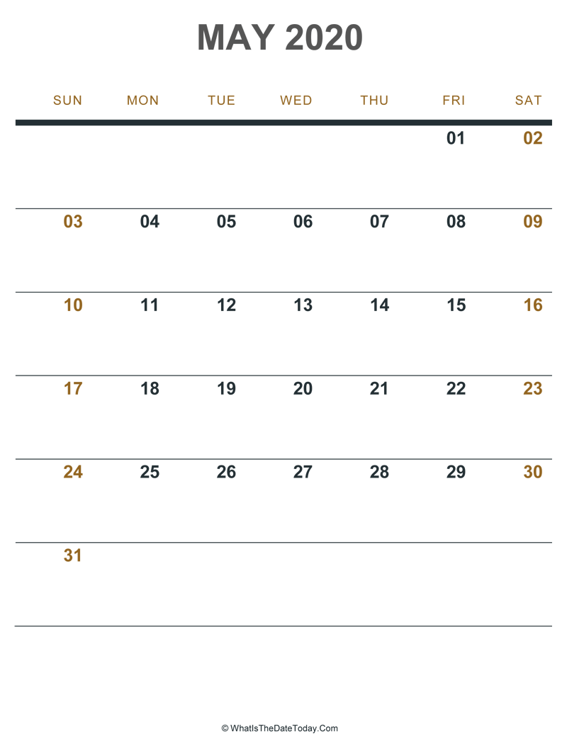 photograph regarding Printable May Calendars named Could 2020 Printable Calendar (Portrait Design and style