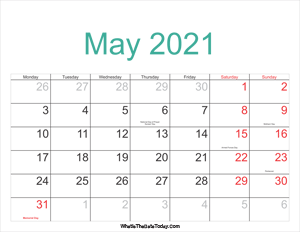 may 2021 calendar printable with holidays