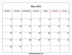 may 2022 calendar with weekend highlight