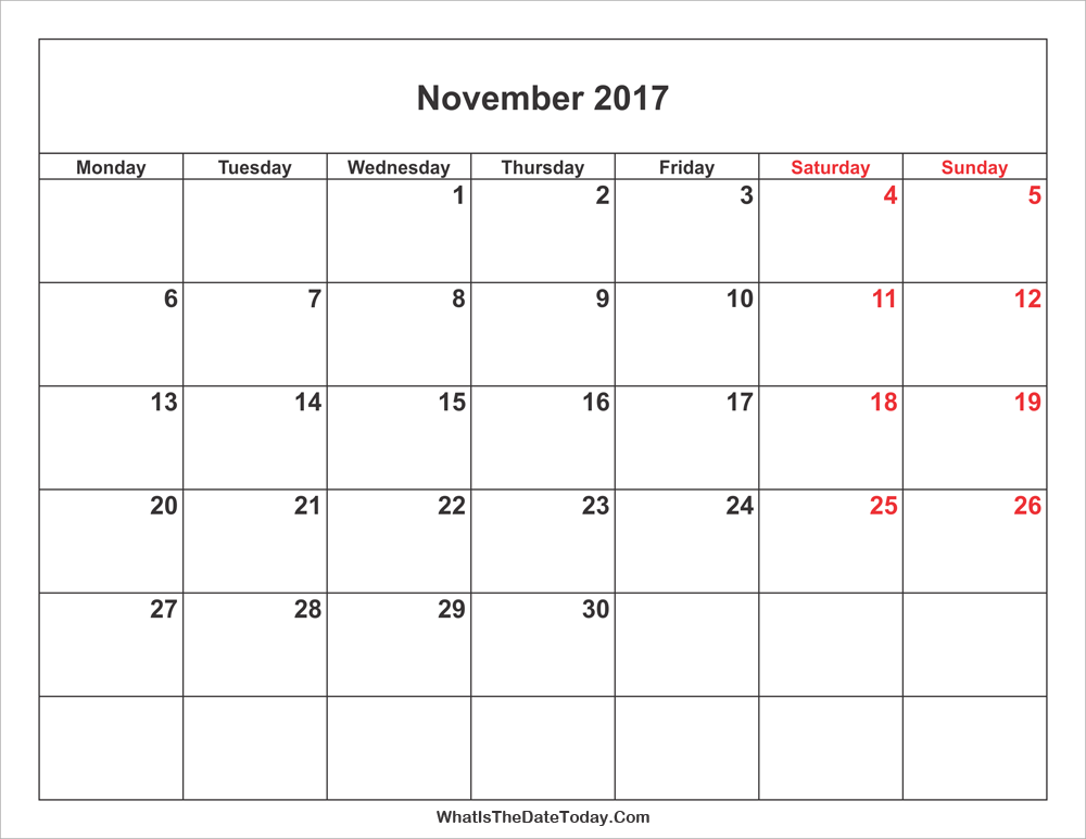 November 2017 Calendar with weekend highlight