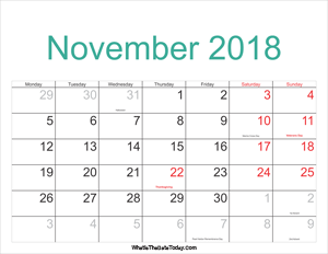 november 2018 calendar printable with holidays